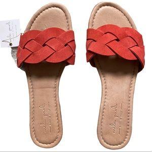Mila Paoli Coral Leather Cross Stitch Sandal NWT